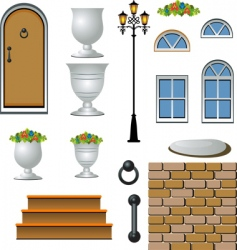 house exterior icons vector image vector image