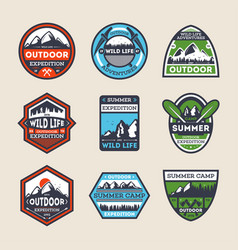 outdoor expedition vintage isolated label set vector image vector image