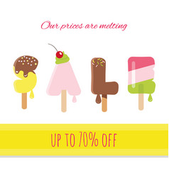 sale ice-cream melted letters vector image