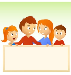 cartoon family holding blank sign vector image vector image
