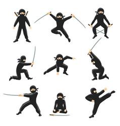 cute cartoon ninja kicking vector image