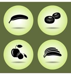 Food fruits set Banana mandarin apple icons vector image vector image