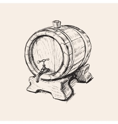 Hand Drawn Old Wine Barrel vector image