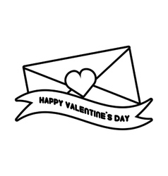 happy valentines day card envelope ribbon heart vector image