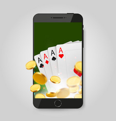mobile phone with cards and coins online casino vector image