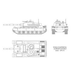 Realistic tank blueprint outline armored car vector