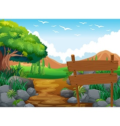 Scene with field and hills vector image
