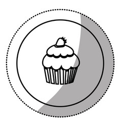 silhouette emblem muffin icon vector image