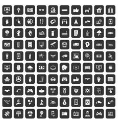100 hi-tech icons set black vector