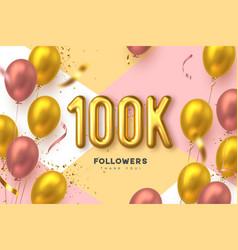 100k followers banner vector