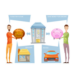 Achieving financial goals concept vector