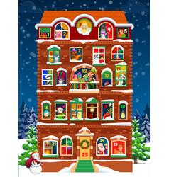 Advent calendar with christmas house and windows vector