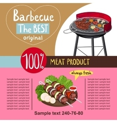 Assorted delicious grilled meat with vegetable vector