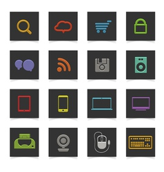 Black buttons with color icons vector