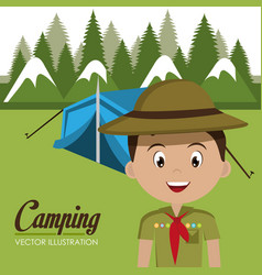 Boy scout in the camping zone vector