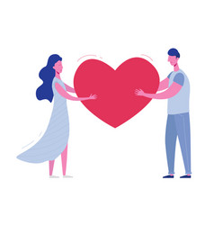 boyfriend and girlfriend holding heart valentines vector image