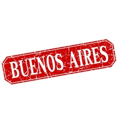 Buenos Aires red square grunge retro style sign vector