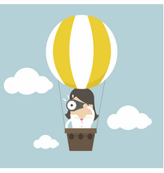 businesswoman in balloon and look at binoculars vector image
