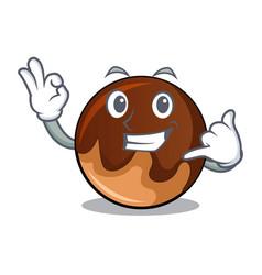 Call me chocolate donut mascot cartoon vector
