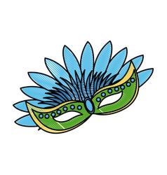 Carnival mask with feathers carnival brazil vector