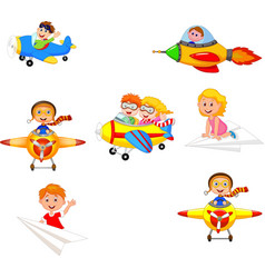 cartoon children playing plane toys collection set vector image