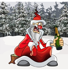 cartoon drunk Santa Claus with a bottle vector image