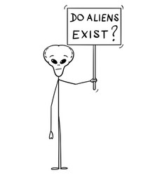 Cartoon extraterrestrial alien holding do vector