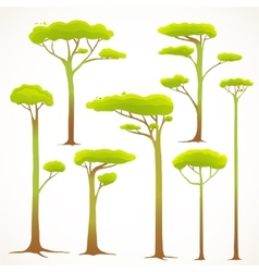 Cartoon Trees Collection Drawing vector image