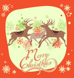 christmas greeting card reindeers and snowflakes vector image