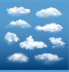 Cloudy sky realistic beautiful white clouds vector