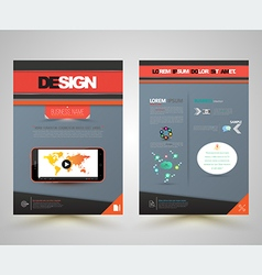 Cover design front and back with smartphone vector