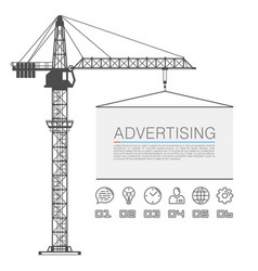 crane lifts the billboard vector image
