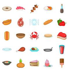 crockery icons set cartoon style vector image