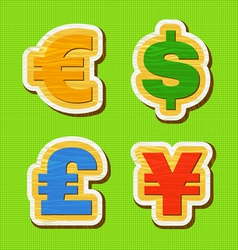 Currency symbol of a wooden texture vector image