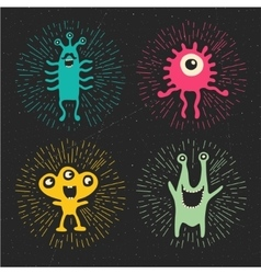 cute happy monsters vector image