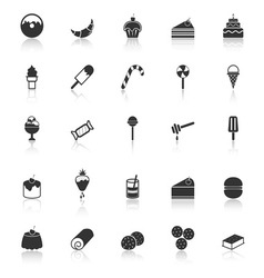 Dessert icons with reflect on white background vector image