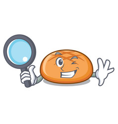 detective hamburger bun character cartoon vector image