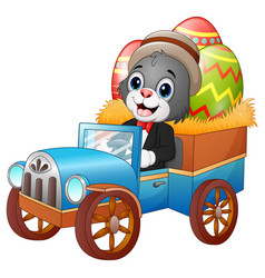 Easter bunny driving a car carrying easter eggs vector