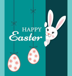 Easter greeting card with text happy easter and vector