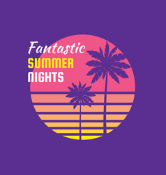 fantastic summer nights - concept badge ill vector image