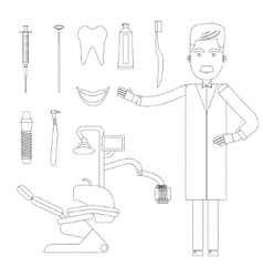 Flat dentist workplace vector