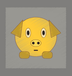 Flat shading style icon kids pig vector