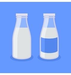 Flat Style Milk Bottle Icon on Blue Background vector