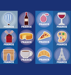 france icon set vector image