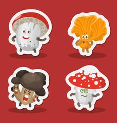Funny mushroom emoticon avatar vector