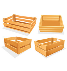 garden wood box empty isometric basket set vector image