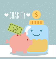 Glass container coins piggy money donate charity vector