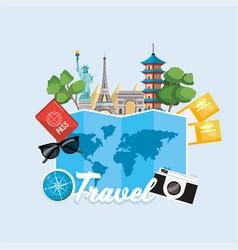 Global map and international tour destination vector