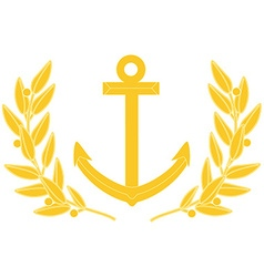 Gold anchor and laurel wreath vector