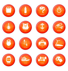 gym sport icons set red vector image